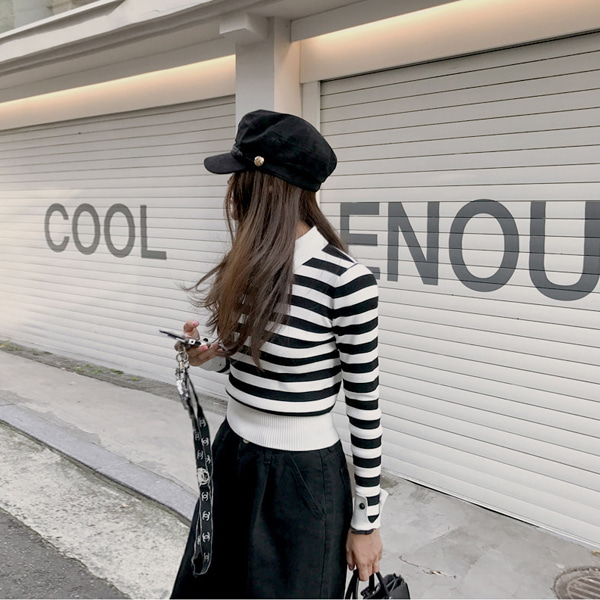 stripe collar-knit