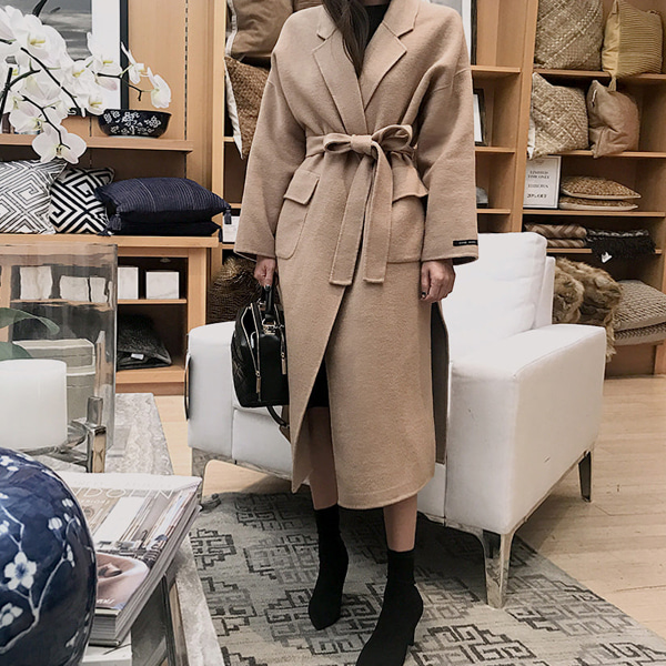 h.d belt long-coat(beige)
